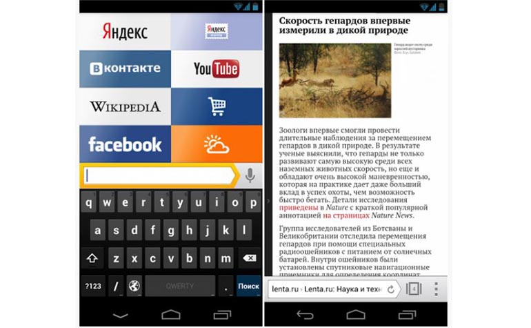 Yandex.Browser for android smartphone