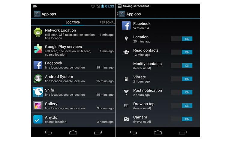 Скрытая панель управления активностью приложения в новой ОС Android 4.3