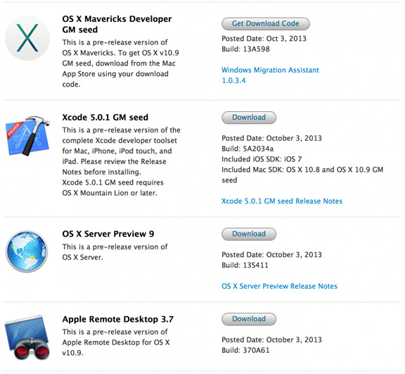 Apple выпустила предрелизную версию OS Х Mavericks