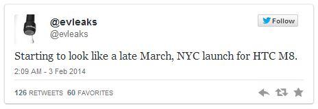 HTC M8 появится в марте в Нью-Йорке