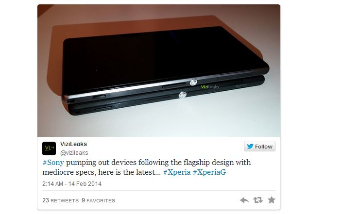 Утечка фото и спецификаций Sony Xperia G