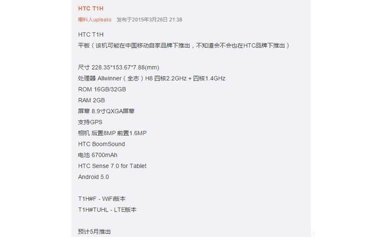 Новый недорого планшет HTC T1H
