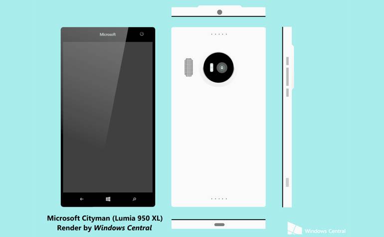 Рендер смартфона Microsoft Lumia 950 XL
