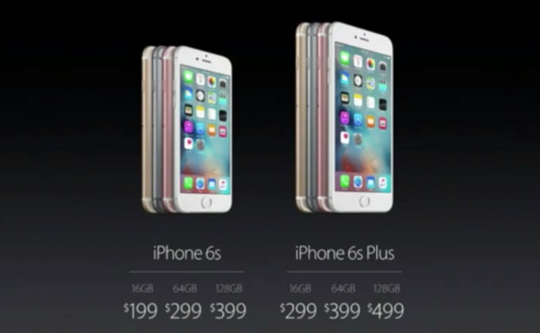 Цены iPhone 6s и iPhone 6s Plus