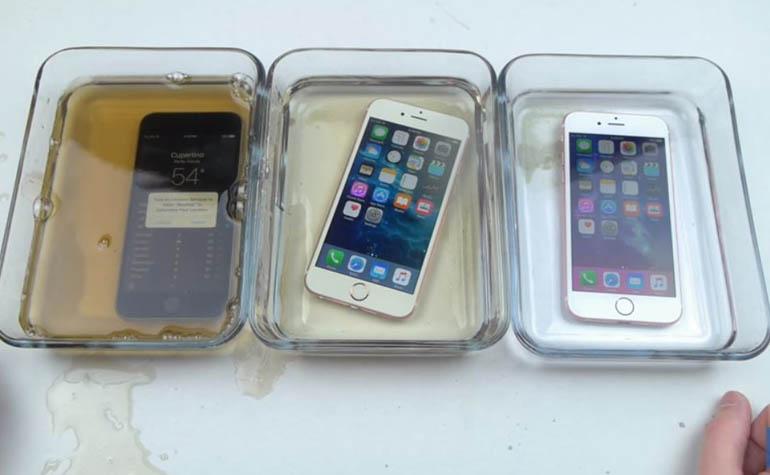 Тест iPhone 6s погружением в жидкости