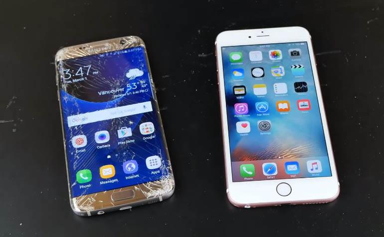 тест на прочность iPhone 6s Plus и Samsung Galaxy S7 edge