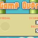 Конец игры Flappy Bird